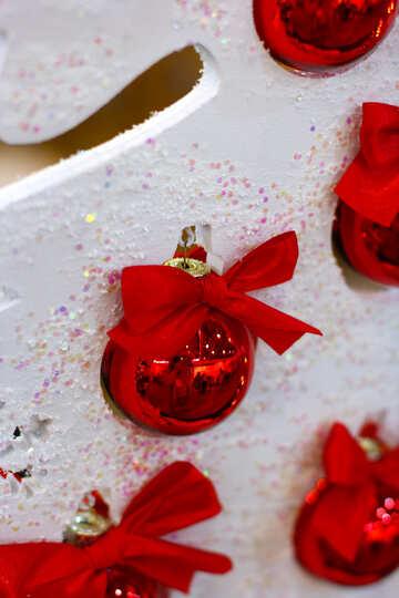 Red Christmas balls on the white Christmas tree №47701