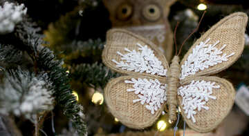 Homemade Christmas toy butterfly on tree №47683