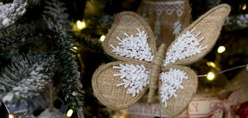 Homemade Christmas toy butterfly on tree №47685