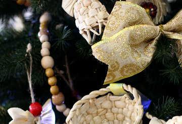 Wicker Christmas toys on the Christmas tree №47668