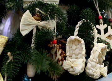 Woven Christmas toys on the Christmas tree №47672