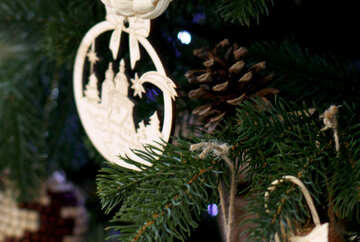 Wooden Christmas toys on the Christmas tree №47667