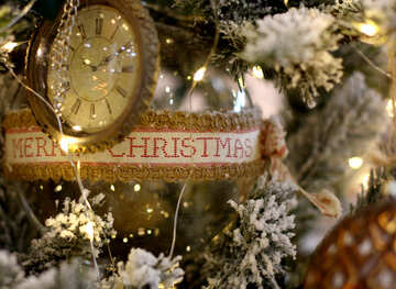 Christmas toy vintage watch on a Christmas tree №47787