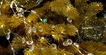 Transparent Christmas toy on a Christmas tree with bulbs №47765