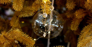Transparent Christmas toy on a Christmas tree with bulbs №47773