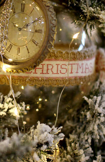Christmas toy vintage watch on a Christmas tree №47781