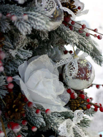 Christmas toy flower on tree №47778