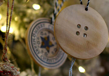 Christmas toys on the Christmas tree made of wood №47800
