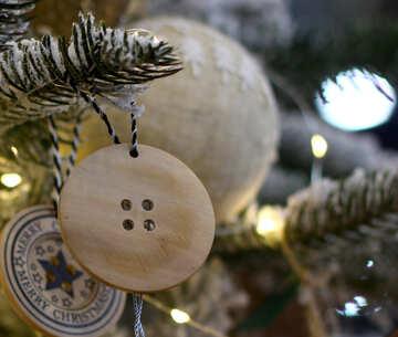 Christmas toys on the Christmas tree made of wood №47801