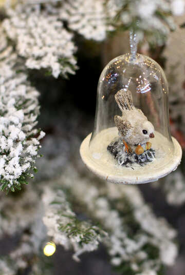 Christmas toy cell is made of glass with a bird №47792
