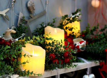 Christmas candles on a table №47630