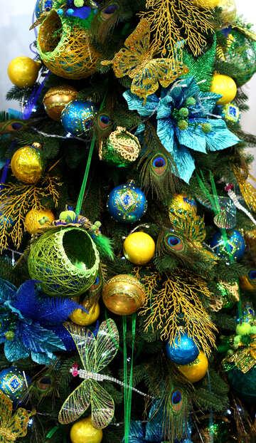 Ornamenti texture su un albero di Natale №47645