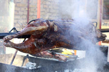 The carcass of the pig meat on a skewer №47423
