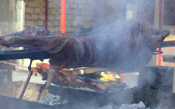 The carcass of the pig meat on a skewer №47425