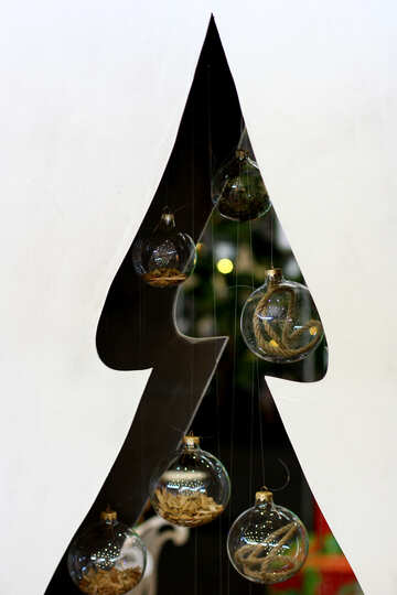 Designer Christmas tree cut from plywood with glass balls №47658