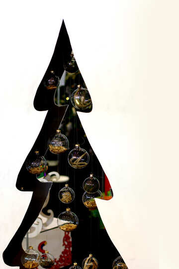 Designer Christmas tree cut from plywood with glass balls №47659