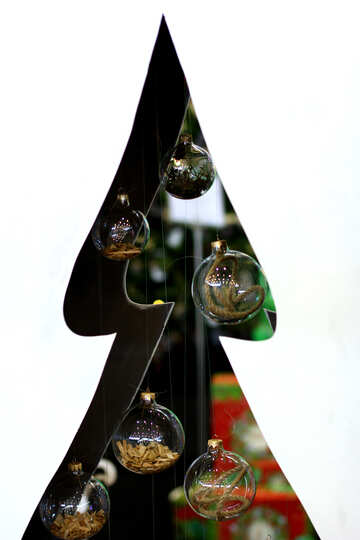 Designer Christmas tree cut from plywood with glass balls №47661