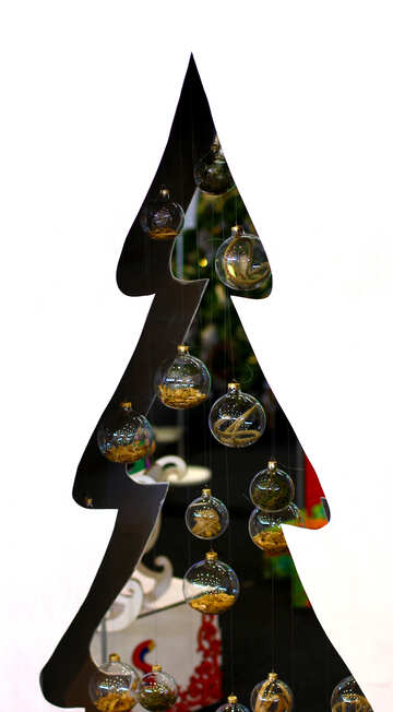 Designer Christmas tree cut from plywood with glass balls №47660