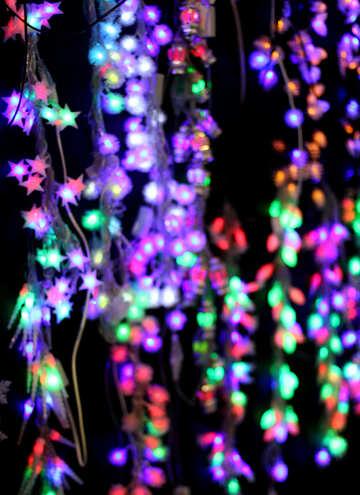 Цветные огни новогодних гирлянд фон №47930
