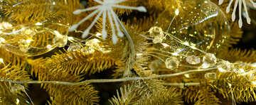 Glass Christmas ball on a branch of a Christmas tree №47713