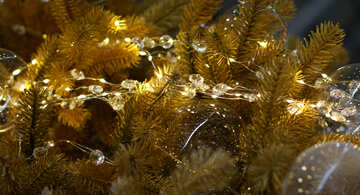 Glass beads and a garland of lights on the Christmas tree №47734