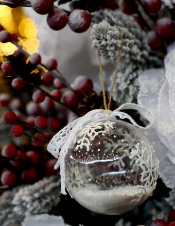 Christmas ball made of transparent glass with snow №47809