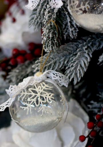 Christmas ball made of transparent glass with snow №47807
