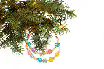 Garland of beads on the tree with Happy New Year and Merry Christmas isolated on white background №47999