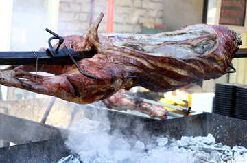 The carcass of the pig meat on a skewer №47421