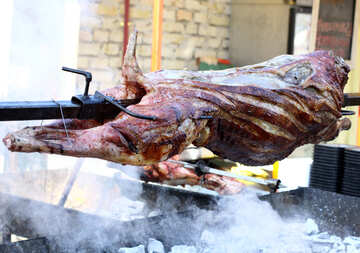 The carcass of the pig meat on a skewer №47422