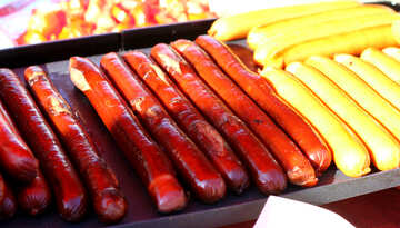 Sausages for hot dogs on the grill №47419