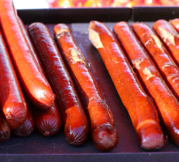 Sausages for hot dogs on the grill №47420