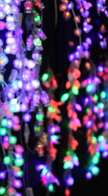 Цветные огни новогодних гирлянд фон №47927