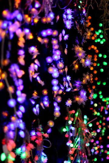 Цветные огни новогодних гирлянд фон №47929