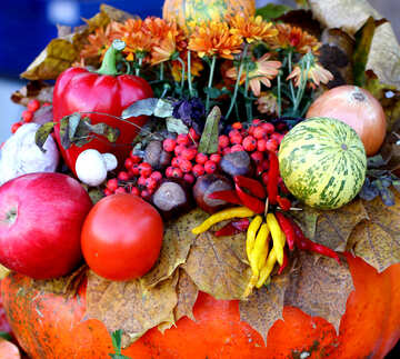 Autumn Still Life floristry, vegetables and fruit №47476