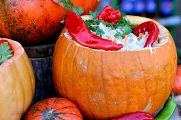 Sauerkraut serving in a pumpkin №47478