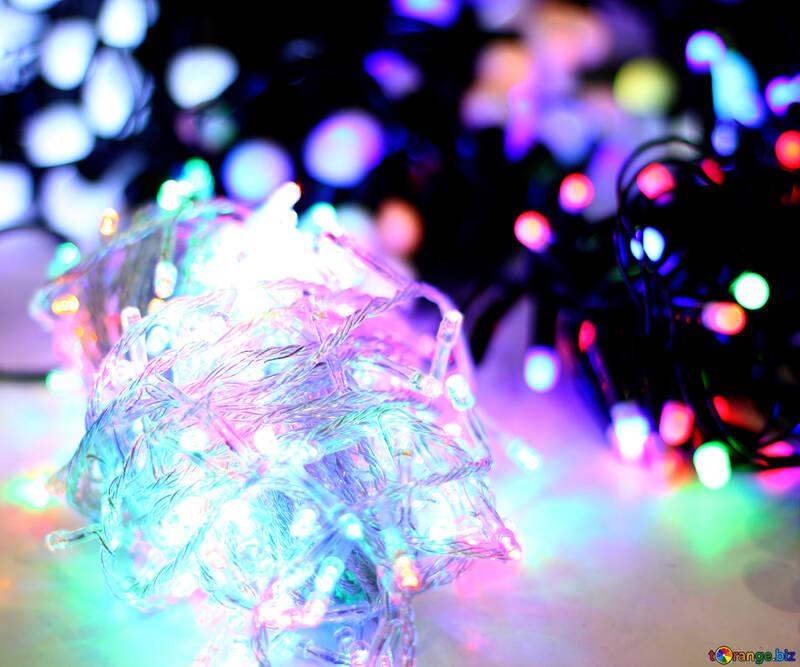 Размытый рождественский фон цветные огни гирлянд №47907