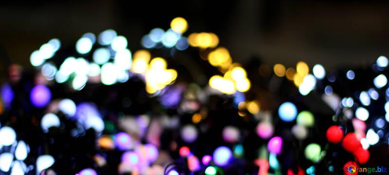 Blurred Christmas lights garlands background color №47918
