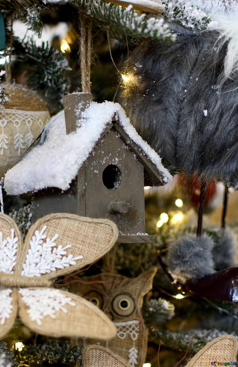 Homemade Christmas toy birdhouse on the tree №47679