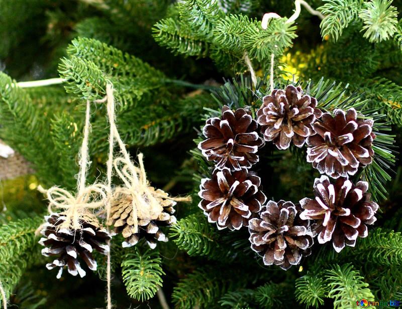 Christmas wreath decoration on a Christmas tree №47825