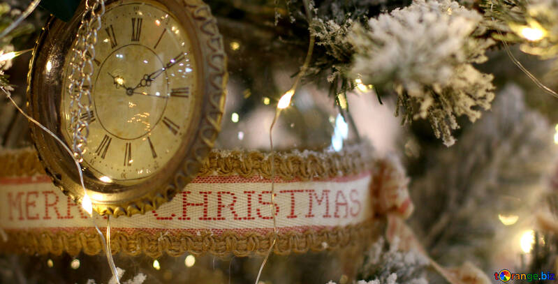Christmas toy vintage watch on a Christmas tree №47788