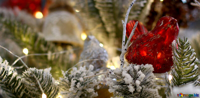 Christmas toy made of glass bird №47789