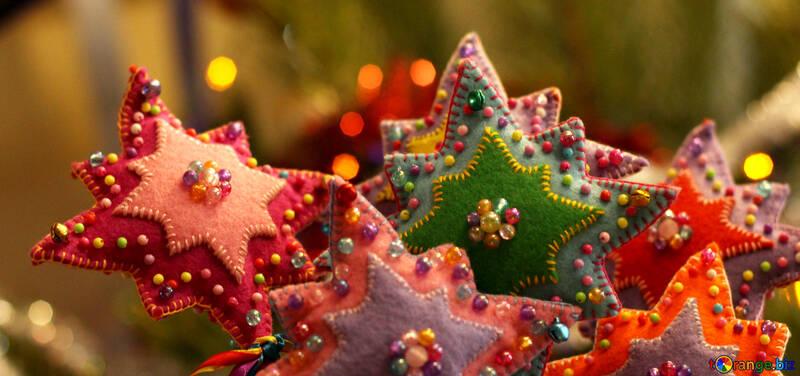 Estrella de la decoración hecha a mano de la Navidad №47948