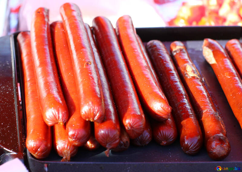 Smoked sausage for hot dog on the grill №47410