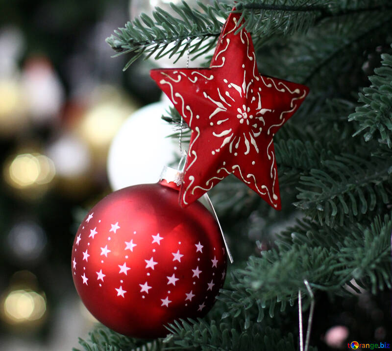 Background with beautiful New Year`s ball №47583