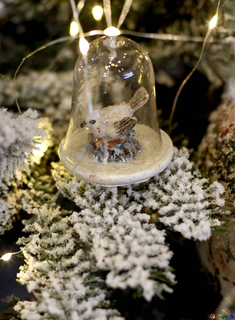 Christmas toy cell is made of glass with a bird №47791