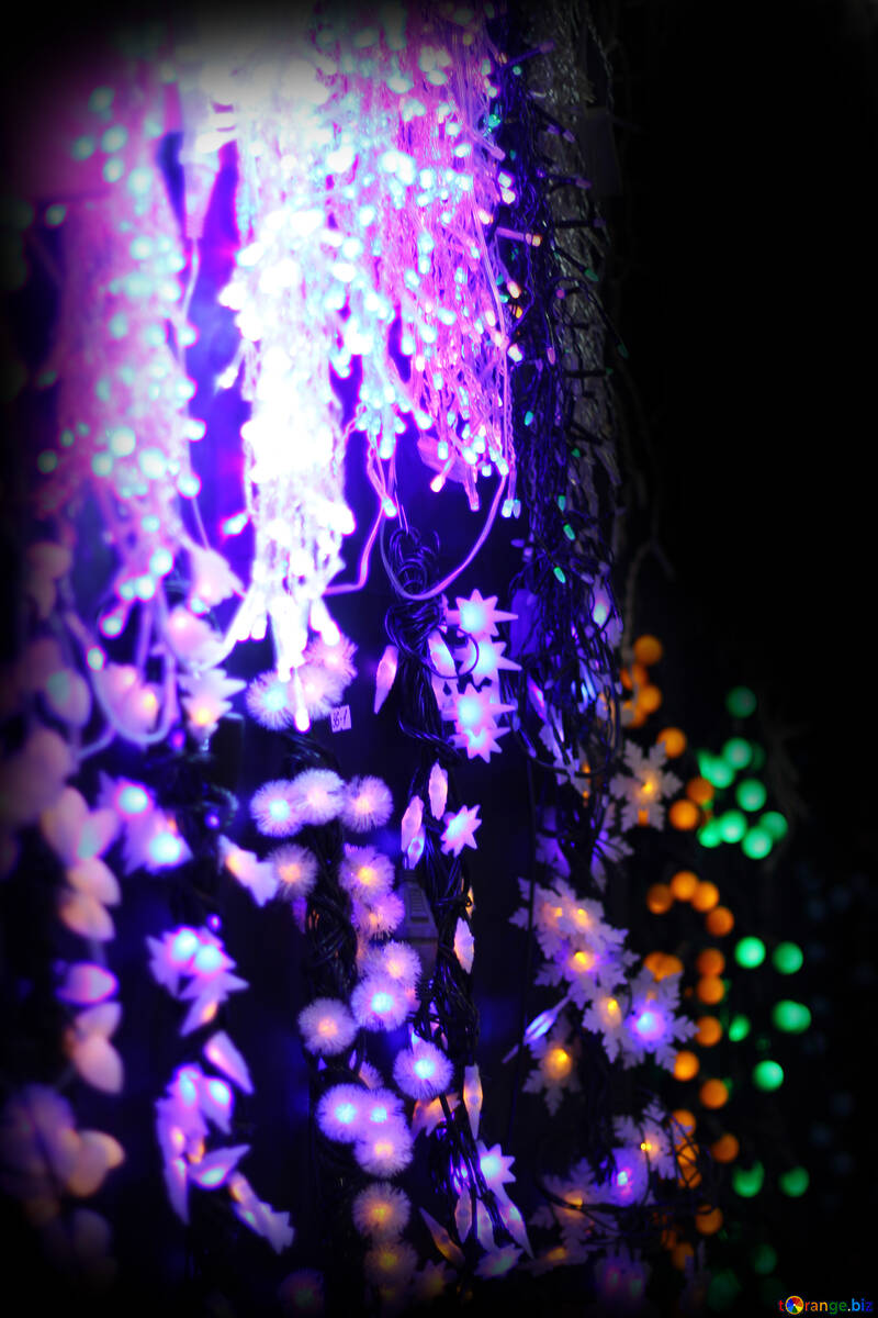 Colored lights Christmas light background №47919