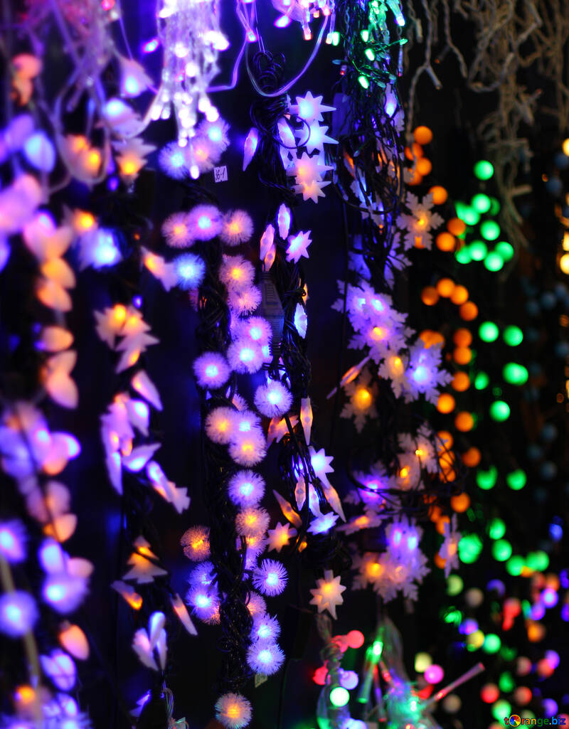 Colored lights Christmas light background №47920
