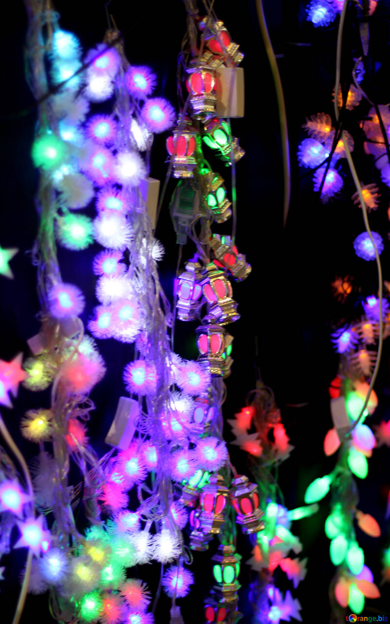 Colored lights Christmas light background №47922