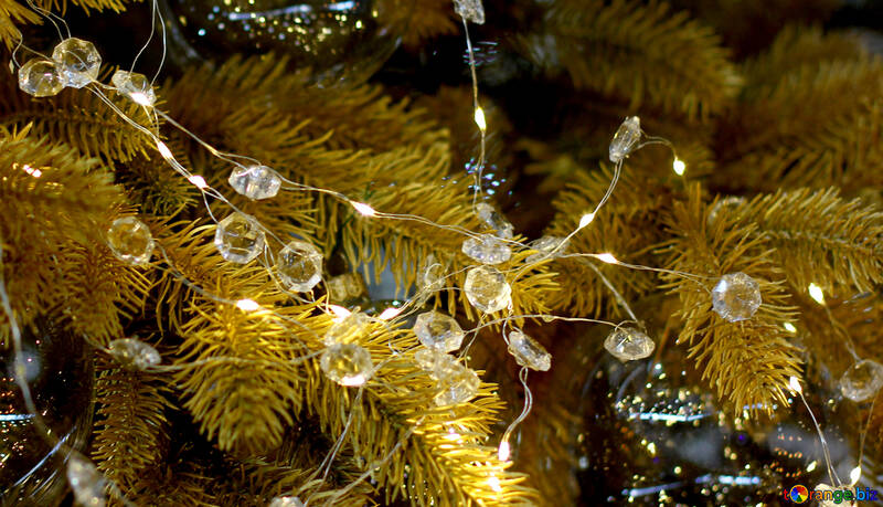 Christmas garland of lights reflection №47764